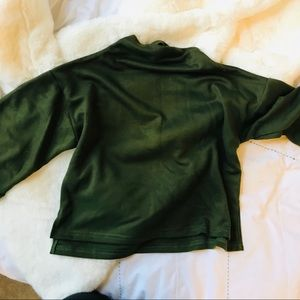 Army green funnel neck top